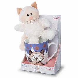 Nici White Cat mug + soft plush toy 15cm