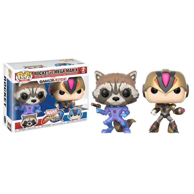 Set 2 figuras POP! Capcom vs Marvel Rocket vs MegaMan X Exclusive