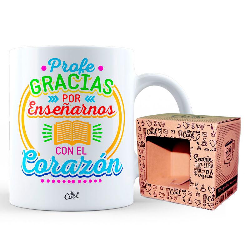 Taza Profe Gracias Por Enseñarnos Con El Corazon 8436571072153