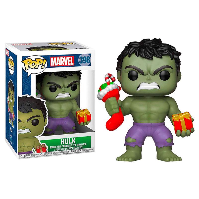 Funko POP o Figura POP Marvel Hulk Navideño con Calcetín y Regalo