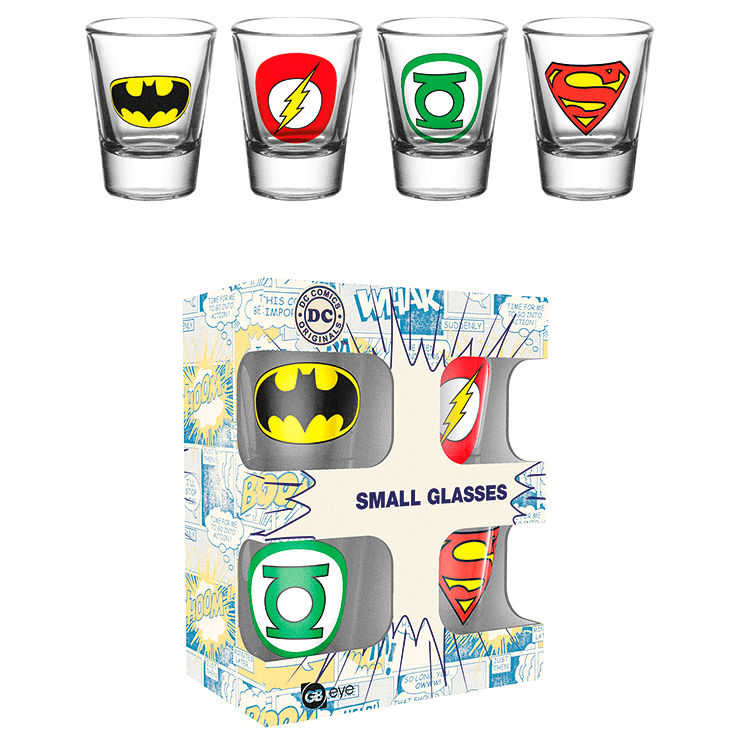 Set 4 vasos chupito Logos DC Comics