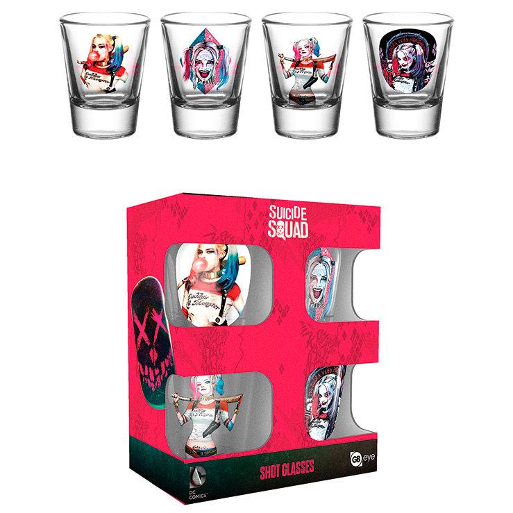 Set 4 vasos chupito Harley Quinn Escuadron Suicida DC Comics