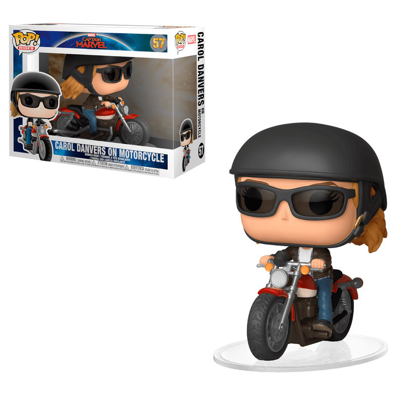 Funko POP o Figura POP Marvel Capitana Marvel Carol Danvers sobre Motocicleta