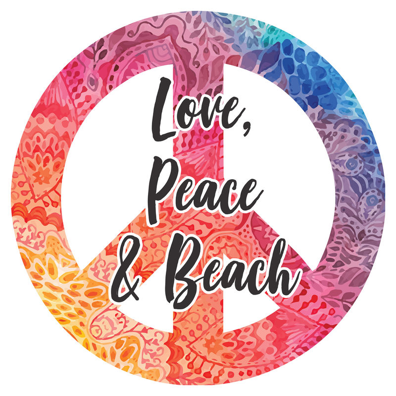 Toalla redonda Love Peace & Beach microfibra 8436583370360