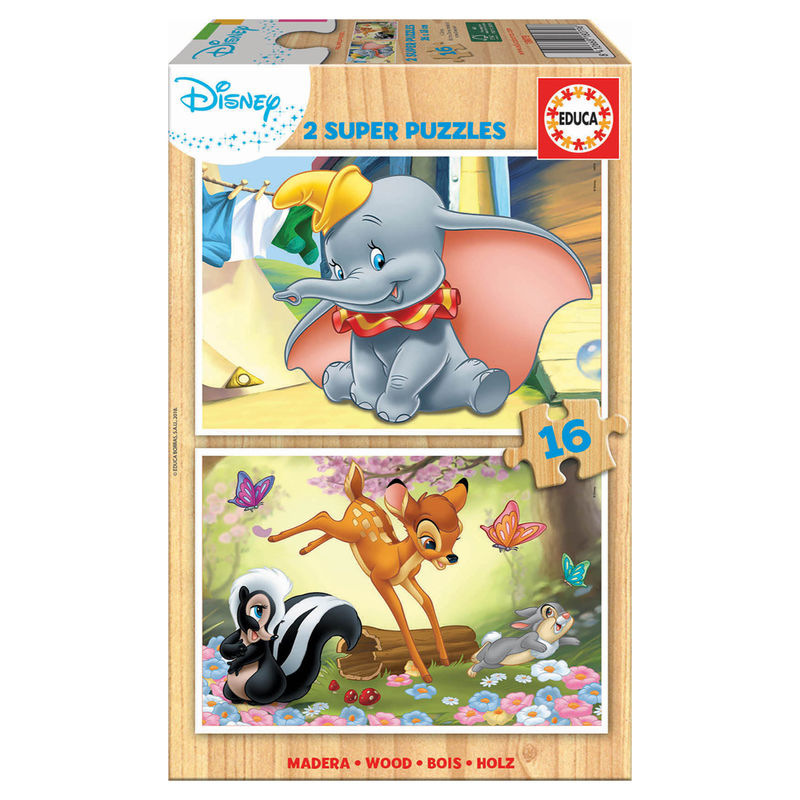 Puzzle Disney Animals Dumbo + Bambi 2x16pz
