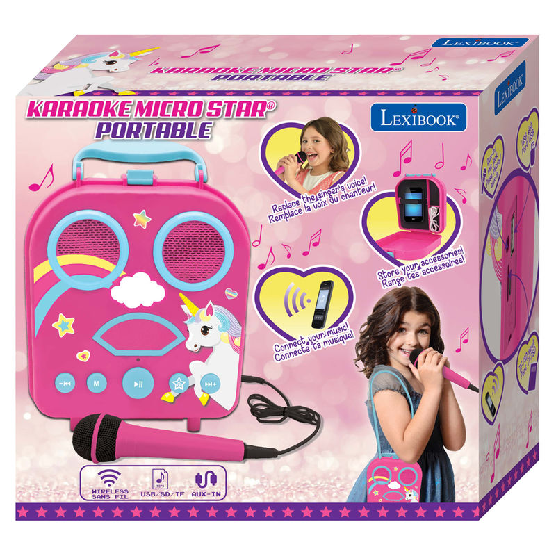 Maleta karaoke Unicornio portatil 3380743076430