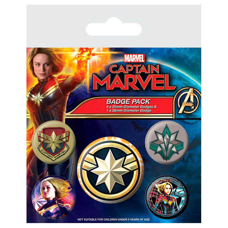 Set 5 chapas Capitana Marvel
