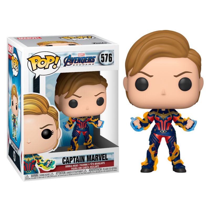 Funko POP o Figura POP Marvel Vengadores Endgame Captain Marvel con pelo corto