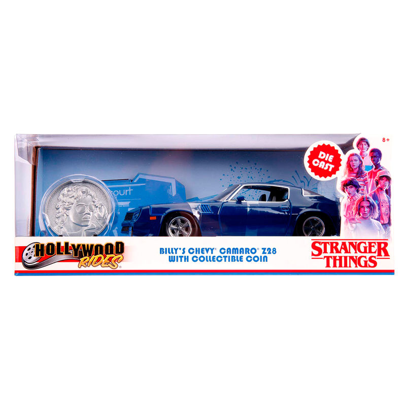 Set Coche metal Chevy Camaro 1979 Z28 Stranger Things & moneda