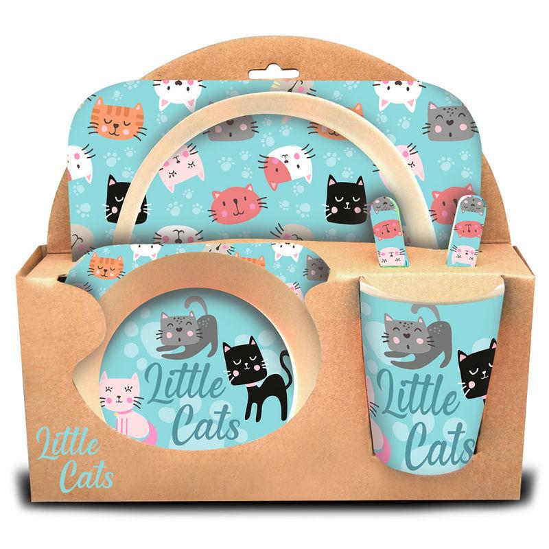 Set menaje Little Cats bambu 8435507833431