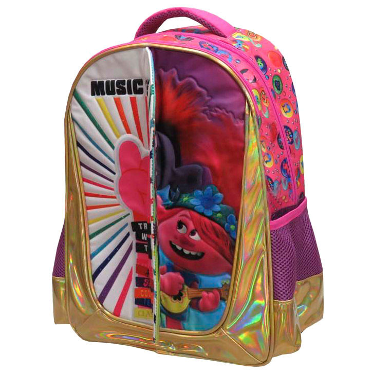 Mochila Trolls Music is Life adaptable a carro 41cm