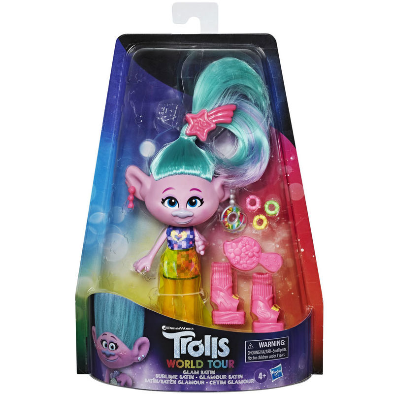 Muñeca Glam Satin Trolls World Tour By Hasbro