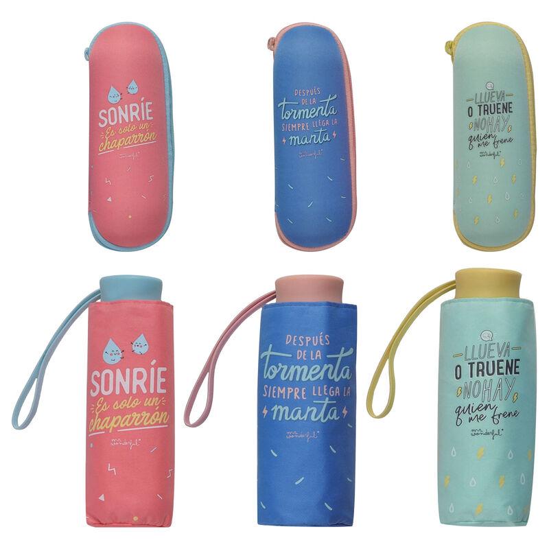 Paraguas plegable manual Frases + funda neopreno Mr. Wonderful surtido 54cm 8424159191853