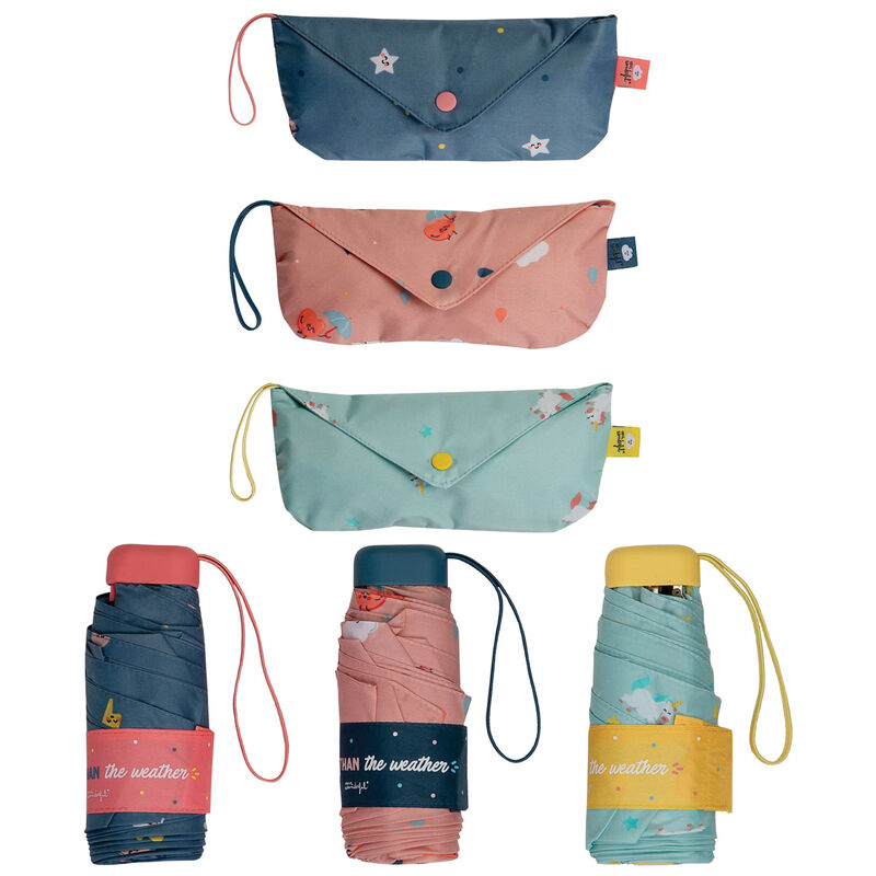 Paraguas plegable manual Weather + bolsa Mr. Wonderfun surtido 52cm 8424159191921