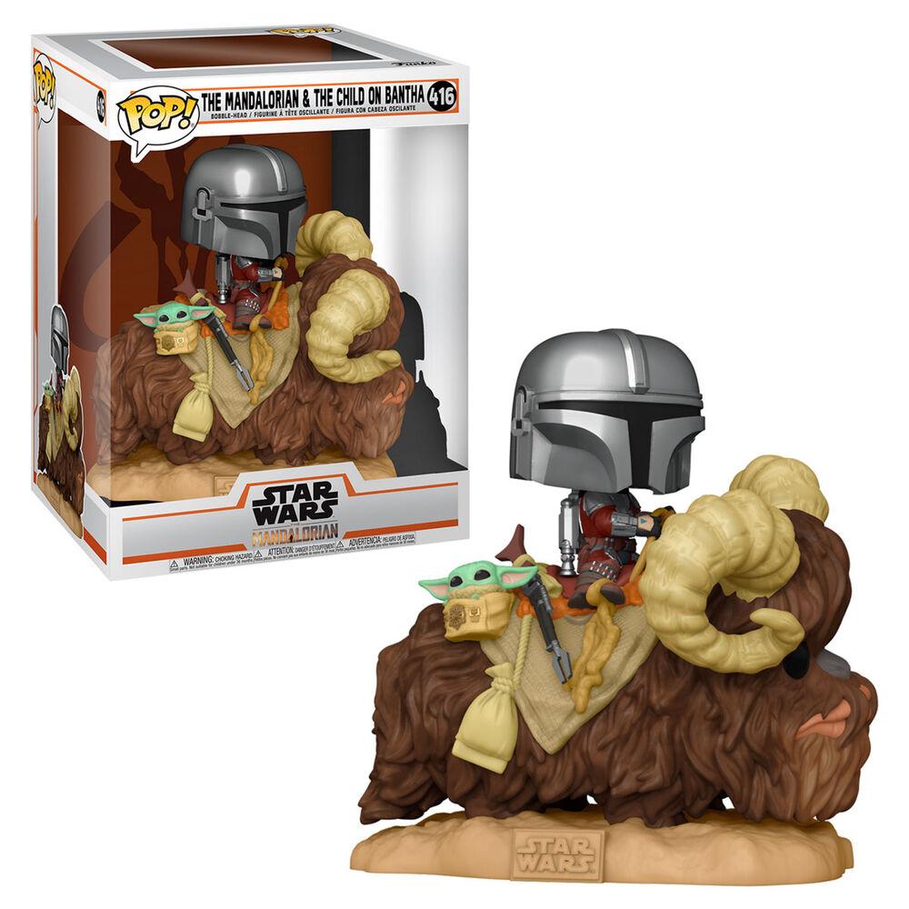 Figura POP Star Wars The Mandalorian Mando on Bantha with Child in Bag 889698523738