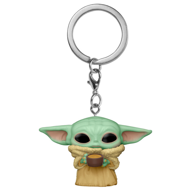 Llavero Pocket POP Star Wars The Mandalorian Baby Yoda The Child with Cup