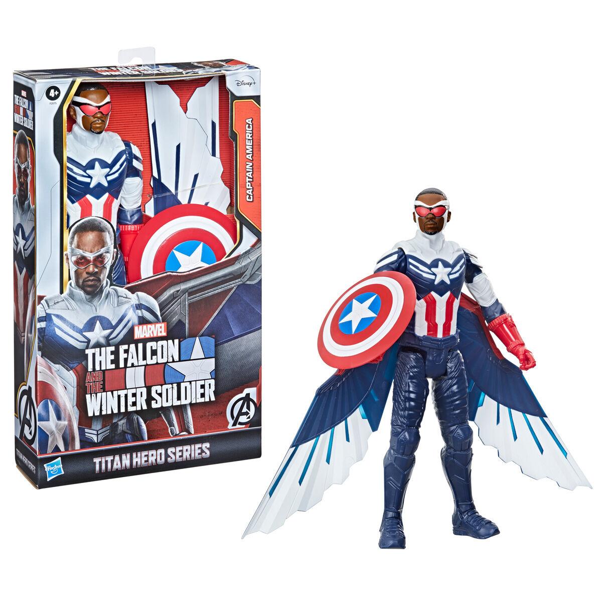 Figura Titan Capitan America Falcon y el Soldado de Inverno Marvel 30cm 5010993818679