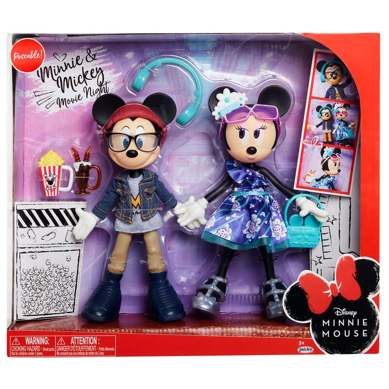 Pack 2 muñecas Minnie and Mickey Mouse Movie Night Disney 24cm 192995202603