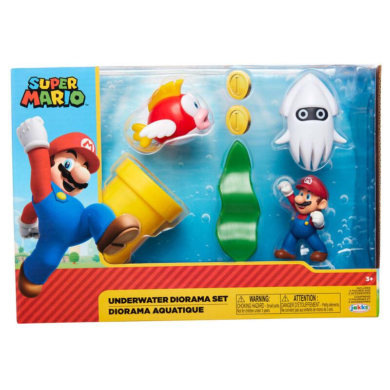 Set diorama Mundo Submarino Super Mario Nintendo 192995400160