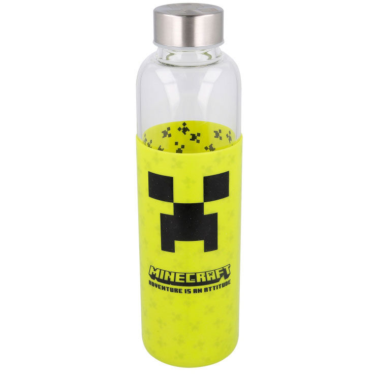 Botella cristal Minecraft funda silicona 585ml 8412497004430