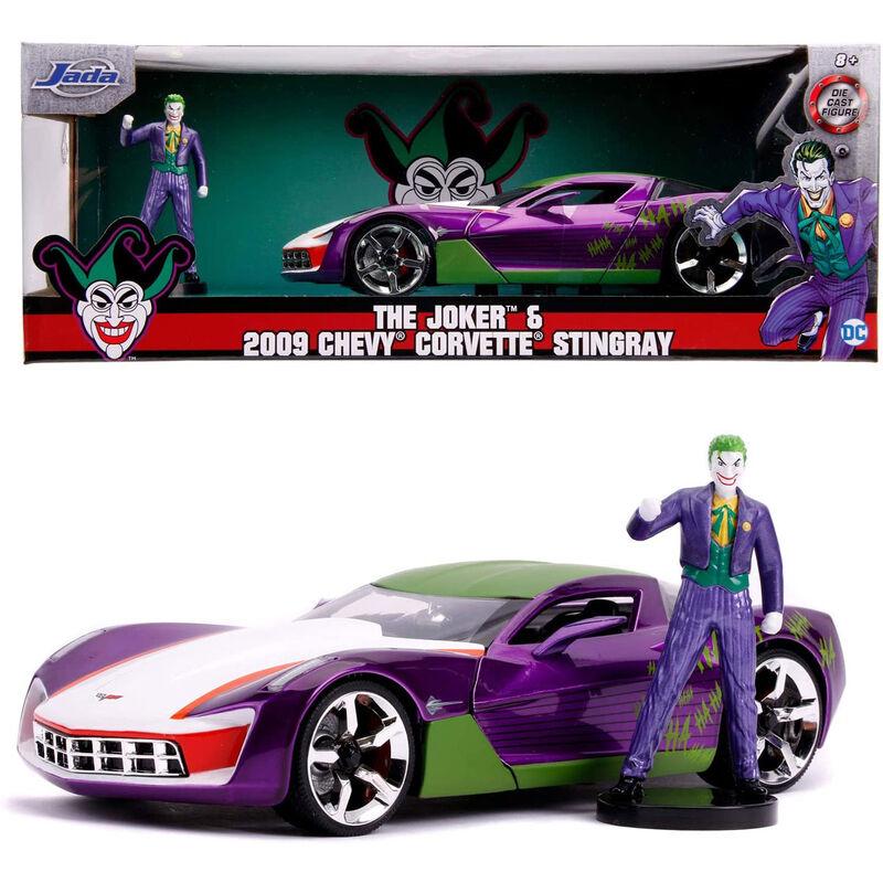 Set figura + coche Chevy Corvette Stingray 2009 Joker DC comics 4006333068706