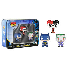 Caja metalica figuras Pocket POP Vinyl DC Batman Harley Joker