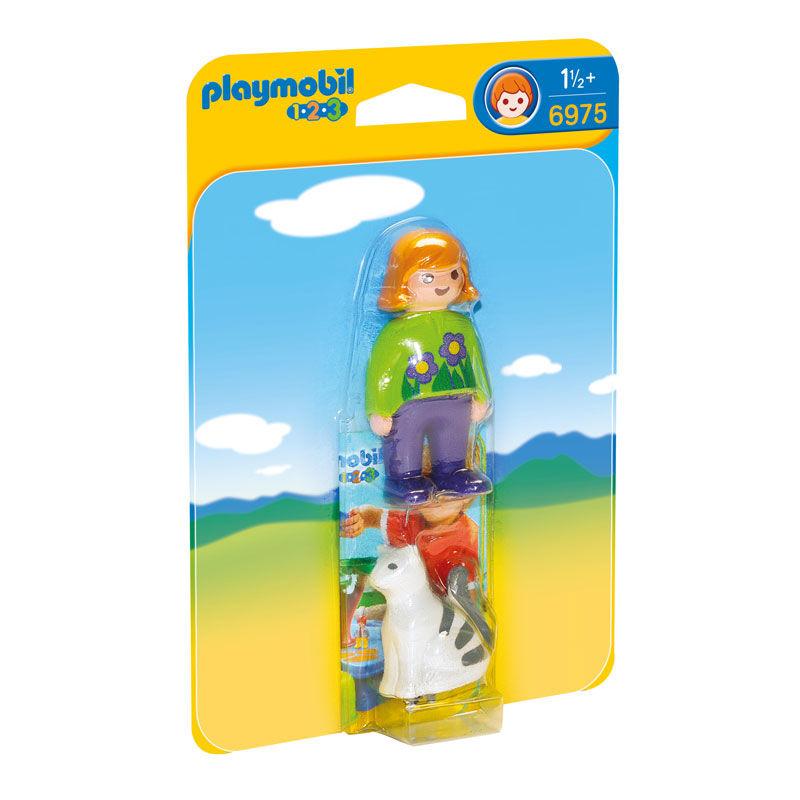Mujer con Gato Playmobil 1.2.3