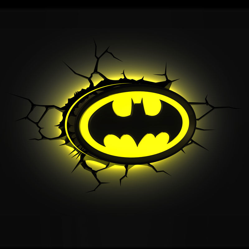 lampara led d pared batman logo dc comics