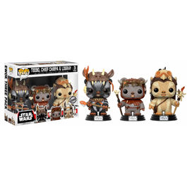 Pack 3 figuras Bobble POP! Star Wars: Teebo Chirpa Logray Limited