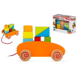 Wooden blocks cart 9pzs