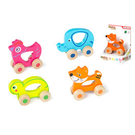 Assorted wooden animal with wheels