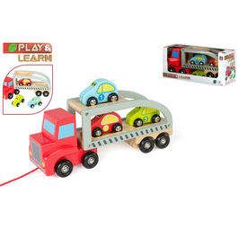 Wooden truck trailer and cars