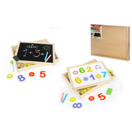 Wooden board with magnetic pieces