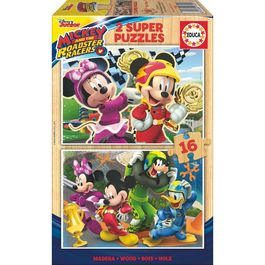 Puzzle Mickey and the Roadster Racers Disney madera 2x16pz