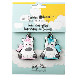 Pack 2 llaveros rubber Unicornio