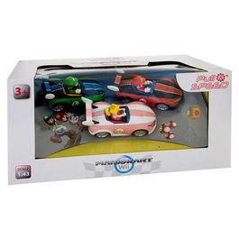 Caja 3 coches Mario Pull Speed Mario Kart Wii
