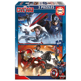 Puzzle Capitan America Civil War Marvel 2x100pz