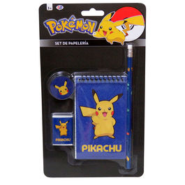 Set papeleria Pokemon Pikachu 4 pzs