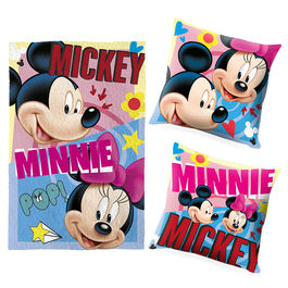 Set cojin + manta Mickey Minnie Disney
