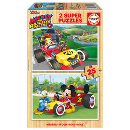 Puzzle Mickey and The Roadster Racers Disney madera 2x25pz