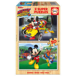 Puzzle Mickey and The Roadster Racers Disney madera 2x50pz