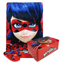 Miraculous Ladybug set polar plaid slippers in metalic box
