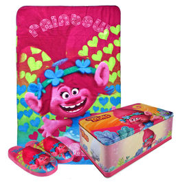 Trolls gift set polar plaid slippers in metalic box